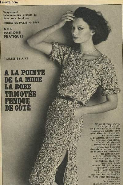 1 PATRON : LA ROBE TRICOTEE FENDUE DE COTE - TAILLE 38 A 42