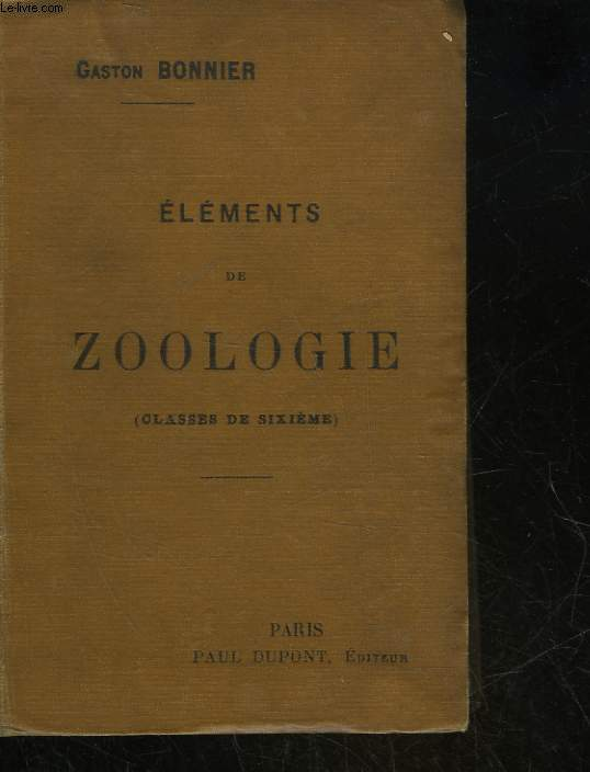 ELEMENTS DE ZOOLOGIE - CLASSE DE 6°