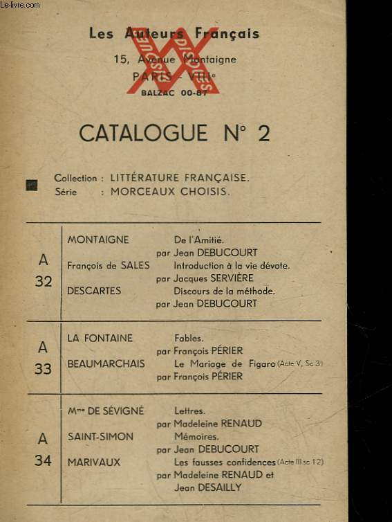 LES AUTEURS FRANCAIS - CATALOGUE N°2