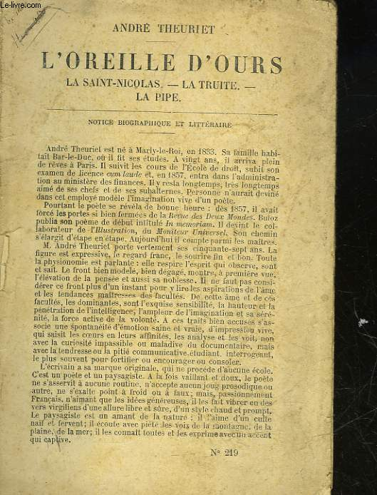 L'OREILLE D'OURS - LA SAINT-NICOLAS, LA TRUITE, LA PIPE