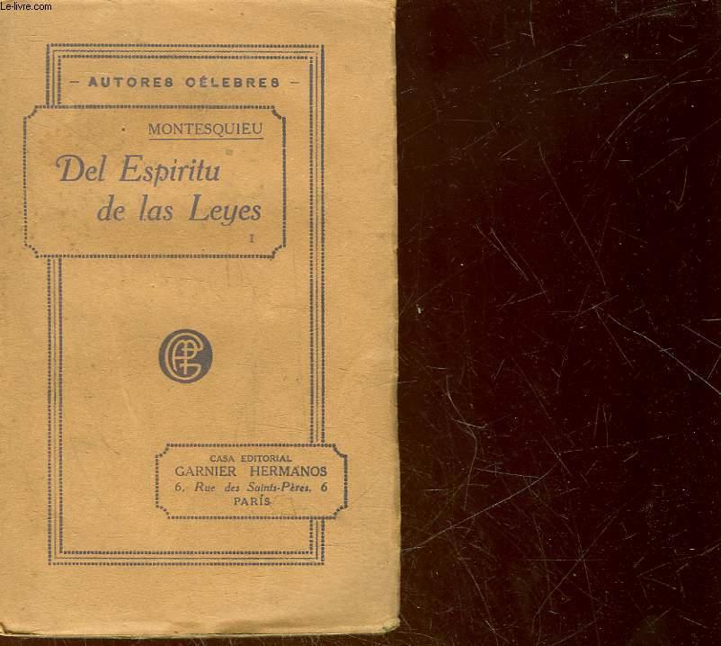 DEL ESPIRITU DE LAS LEYES - TOMO 1
