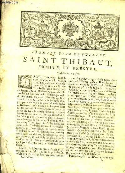 PREMIER JOUR DE JUILLET SAINT THIBAUT ERMITE ET PRESTRE - TOME 2