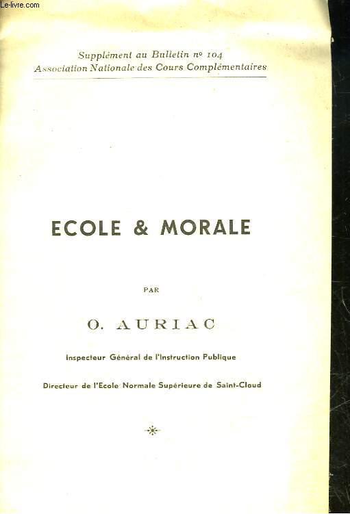 ECOLE ET MORALE