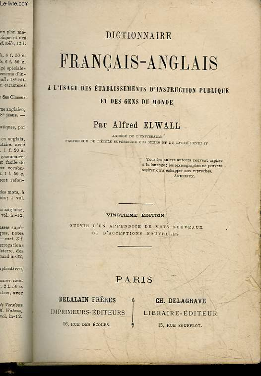 DICTIONNAMIRE FRANCAIS-ANGLAIS A L'USAGE DES ETABLISSEMENTS D'INSTRUCTION PUBLIQUE ET DES GENS DU MONDE