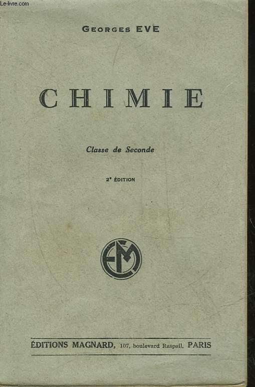 CHIMIE - CLASSES DE SECONDE CLASSIQUE - SECTION C ET DE SECONDE MODERNE