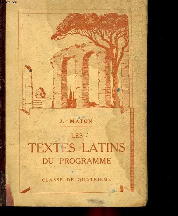 LES TEXTES LATINS DU PROGRAMME - CLASSE DE 4°