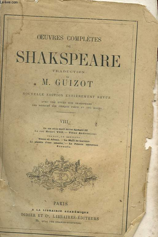 OEUVRES COMPLETES DE SHAKSPEARE - TOME 8