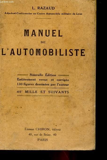 MANUEL PRATIQUE DE L'AUTOMOBILISTE