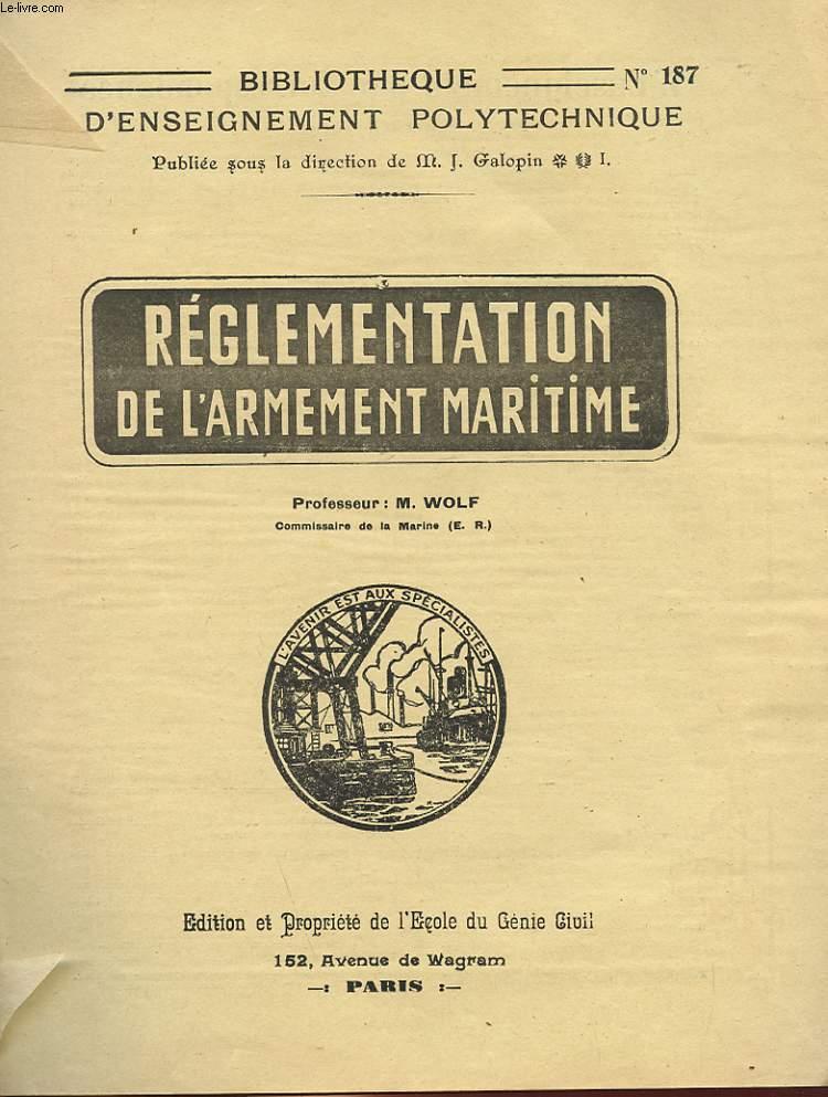REGLEMENTATION DE L'ARMEMENT MARITIME
