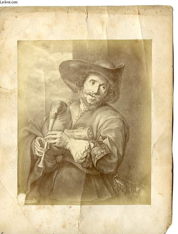 1 PHOTO/TABLEAU D'ART ALBUMINE : LE JOUEUR DE MUSETTE (VIEUX DICK)
