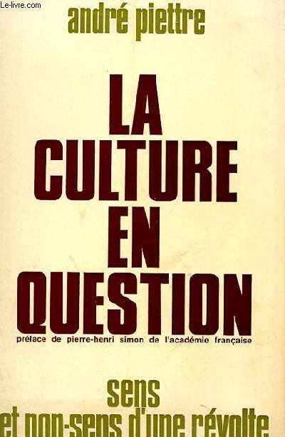LA CULTURE EN QUESTION - SENS ET NON-SENS D'UNE REVOLTE
