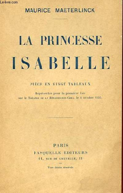 LA PRINCESSE ISABELLE - PIECE EN VINGT TABLEAUX