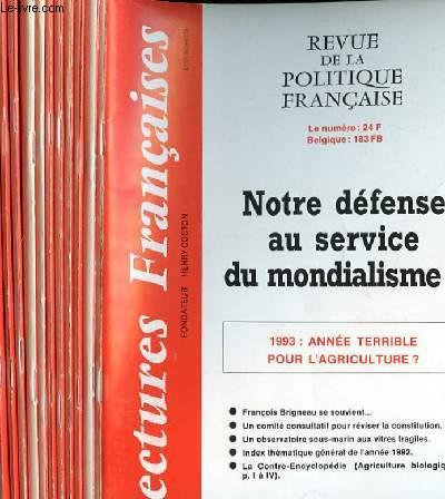 LECTURES FRANCAISES - REVUE DE LA POLITIQUE FRANCAISE DU NUMERO 429 AU NUMERO 440 - 37° ANNEE