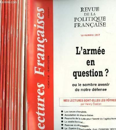 LECTURES FRANCAISES - REVUE DE LA POLITIQUE FRANCAISE DU NUMERO 441 AU NUMERO 452 - 38° ANNEE