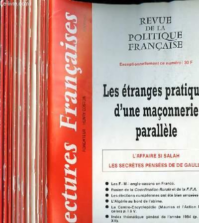 LECTURES FRANCAISES - REVUE DE LA POLITIQUE FRANCAISE DU NUMERO 453 AU NUMERO 464 - 39° ANNEE.