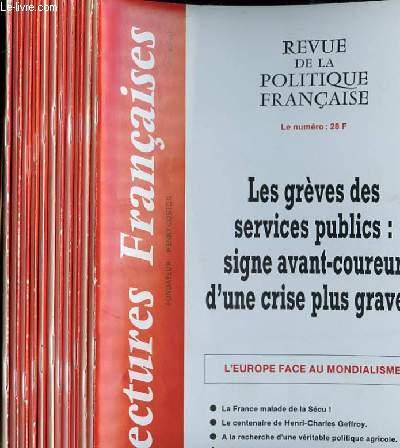 LECTURES FRANCAISES - REVUE DE LA POLITIQUE FRANCAISE DU NUMERO 465 AU NUMERO 476 - 40° ANNEE