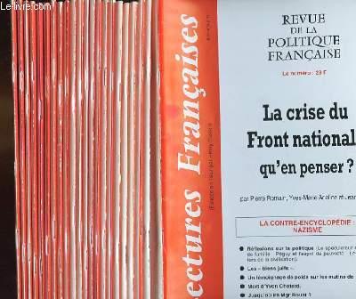 LECTURES FRANCAISES - REVUE DE LA POLITIQUE FRANCAISE DU NUMERO 501 AU NUMERO 524 - 43° ANNEE