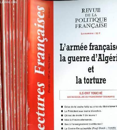LECTURES FRANCAISES - REVUE DE LA POLITIQUE FRANCAISE DU NUMERO 525 AU NUMERO 536 - 44° ANNEE