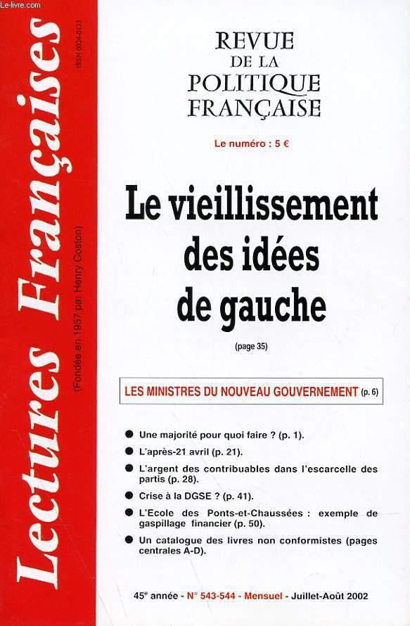 LECTURES FRANCAISES - REVUE DE LA POLITIQUE FRANCAISE N° 543-544 - 45° ANNEE - LE VIEILLISSEMENT DES IDEES DE GAUCHE