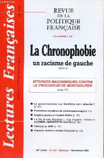 LECTURES FRANCAISES - REVUE DE LA POLITIQUE FRANCAISE N° 547 - 45° ANNEE - LA CHRONOPHOBIE, UN RACIME DE GAUCHE