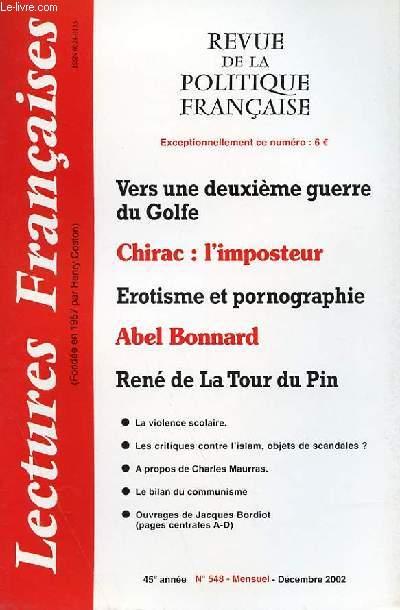LECTURES FRANCAISES - REVUE DE LA POLITIQUE FRANCAISE N° 548 - 45° ANNEE - VERS UNE DEUXIEME GUERRE DU GOLFE.