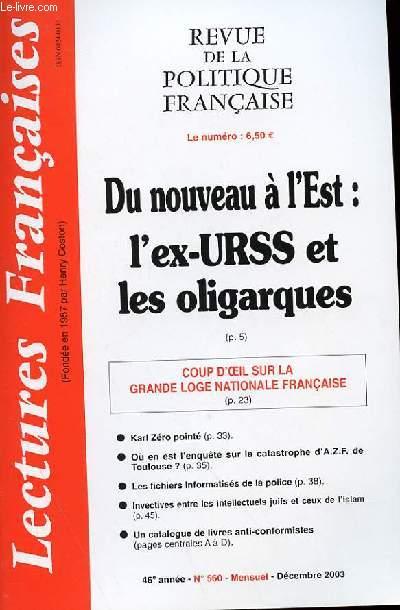 LECTURES FRANCAISES - REVUE DE LA POLITIQUE FRANCAISE DU NUMERO 549 AU NUMERO 560 - 46° ANNEE