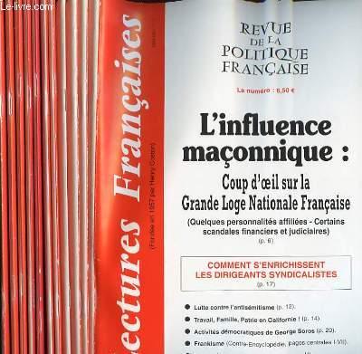 LECTURES FRANCAISES - REVUE DE LA POLITIQUE FRANCAISE DU NUMERO 561 AU NUMERO 572 - 47° ANNEE