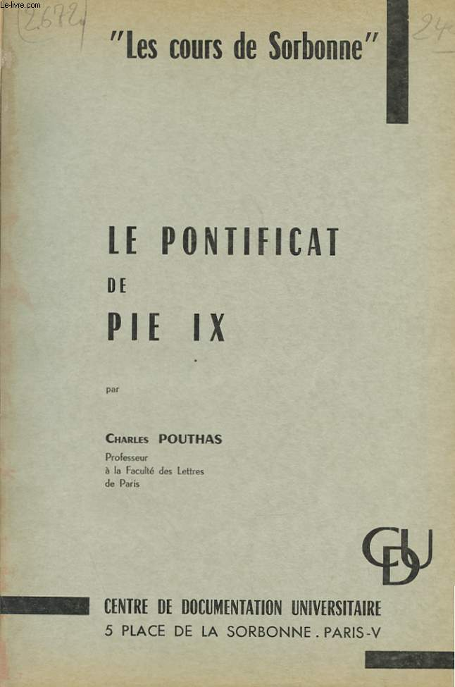 LE PONTIFICAT DE PIE IX