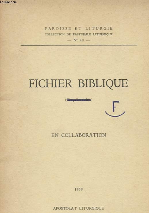 FICHIER BIBLIQUE (SIXIEME SERIE - ANNEXE PROVISOIRE)