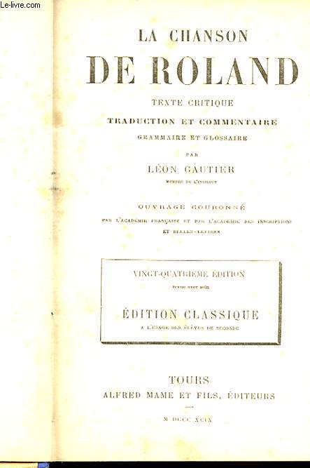 LA CHANSON DE ROLAND - TEXTE CRITIQUE