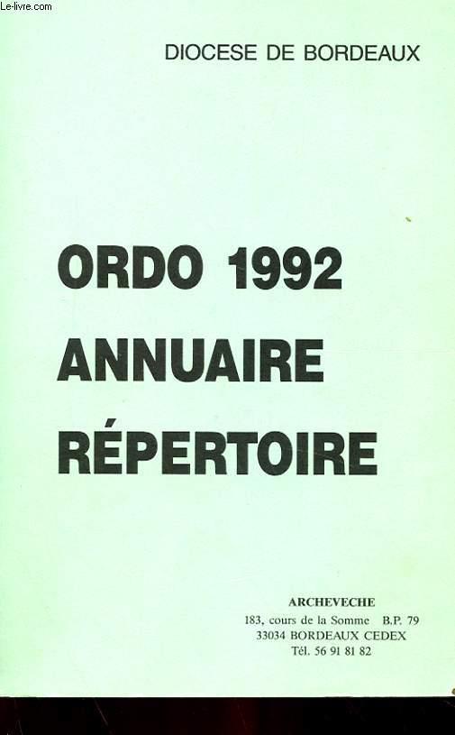 ORDO 1992 - ANNUAIRE REPERTOIRE