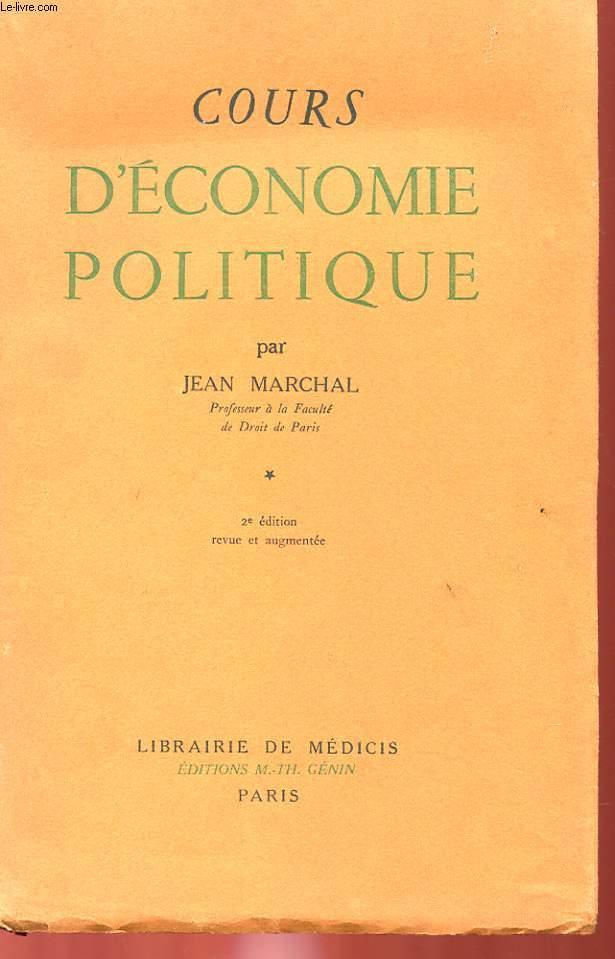 COURS D'ECONOMIE POLITIQUE TOME PREMIER