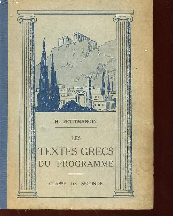 LES TEXTES GRECS - CLASSE DE SECONDE