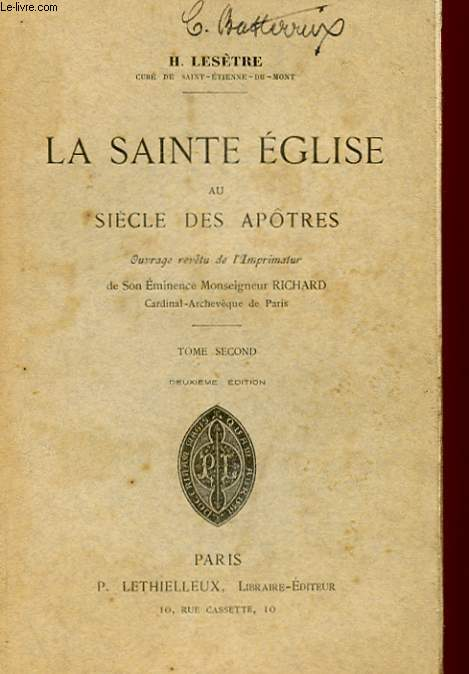 LA SAINTE EGLISE AU SIECLE DES APOTRES - TOME SECOND
