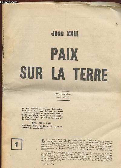 PAIX SUR LA TERRE (LETTRE ENCYCLIQUE)