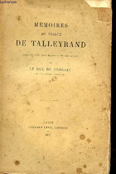 MEMOIRES DU PRINCE DE TALLEYRAND TOME 2