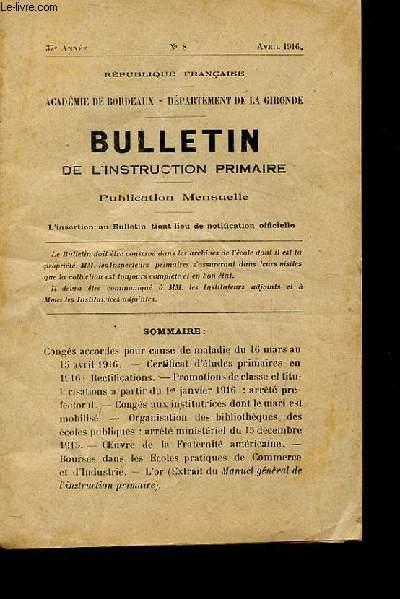 BULLETIN DE L'INSTRUCTION PRIMAIRE N° 8