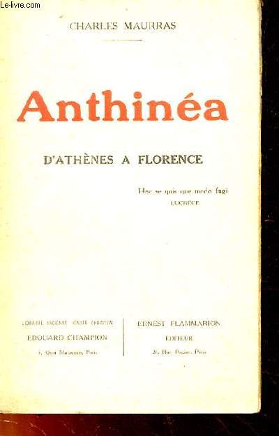 ANTHINEA, D'ATHENES A FLORENCE