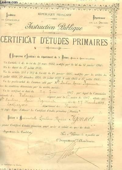 CERTIFICAT D'ETUDES PRIMAIRES, INSTRUCTION PUBLIQUE