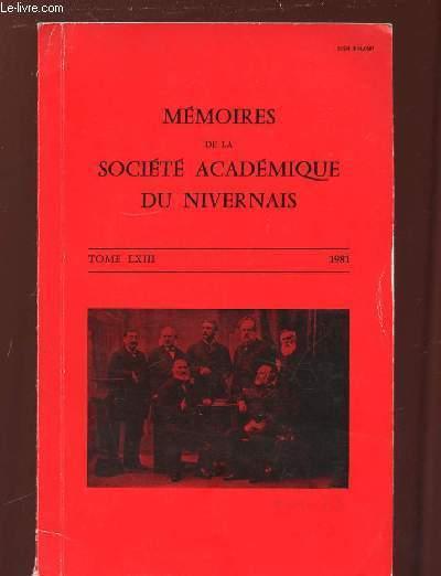 MEMOIRES DE LA SOCIETE ACADEMIQUE DU NIVERNAIS TOME LXIII 1981.