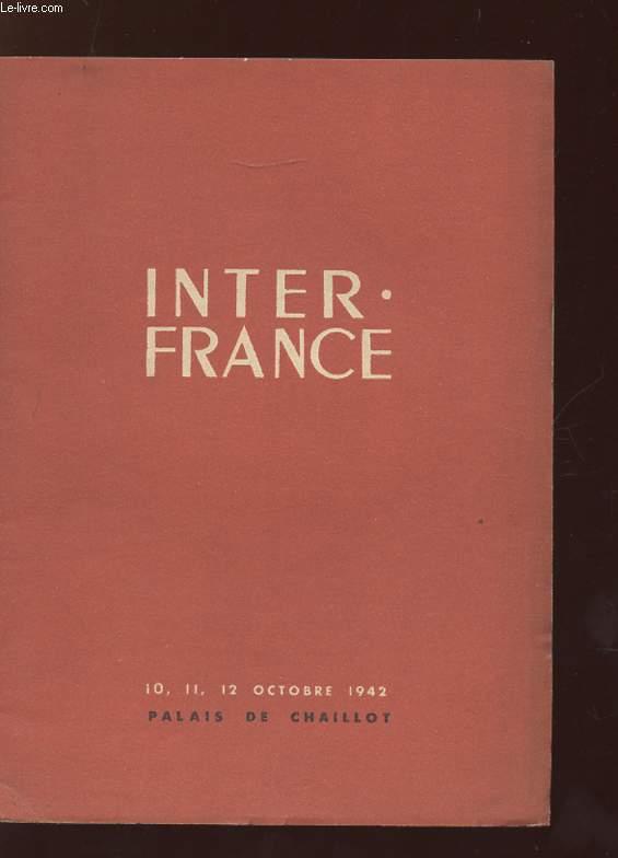 INTER FRANCE. 10 - 11 - 12 OCTOBRE 1942.
