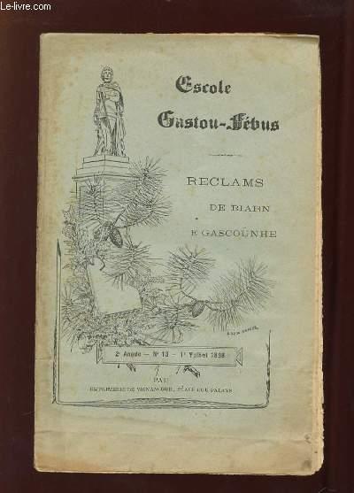 ESCOLE GASTON FEBUS RECLAMS DE BIARN E GASCOUNHE N° 13 1898.