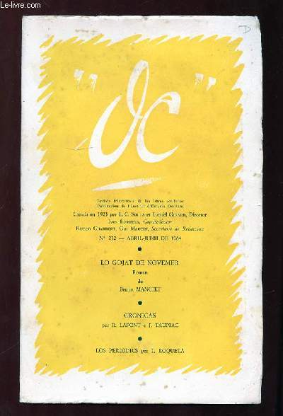 OC N° 232 ABRIL JUNH 1964. LO GOJAT DE NOVEMER DE BERNAT MANCIET. TEXTE EN ESPAGNOL.