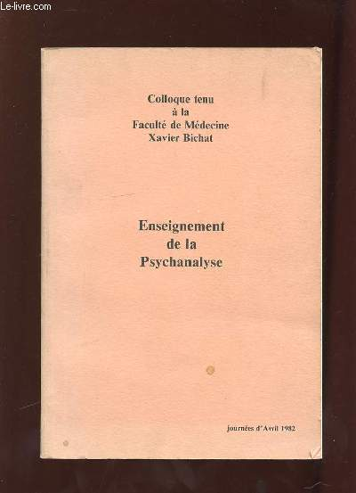 ENSEIGNEMENT DE LA PSYCHANALYSE. JOURNEE D AVRIL 1982.