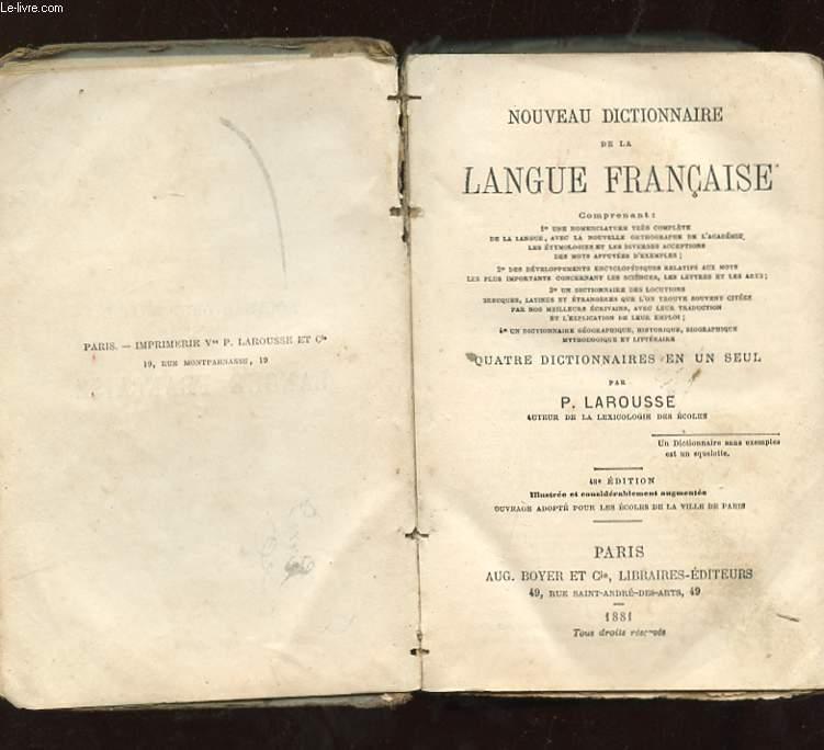 NOUVEAU DICTIONNAIRE DE LA LANGUE FRANCAISE.