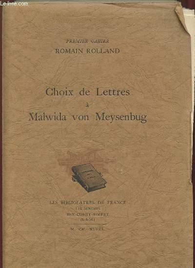 CHOIX DE LETTRES A MALWIDA VON MEYSENBUG.