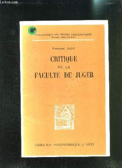 CRITIQUE DE LA FACULTE DE JUGER- BIBLIOTHEQUE DES TEXTES PHILOSOPHIQUES- 3ème EDITION