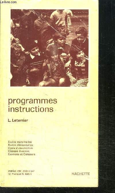 PROGRAMMES INSTRUCTIONS