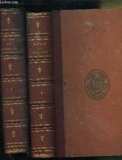 OEUVRES DE MASSILLON - EVEQUE DE CLERMONT - EN 2 VOLUMES : TOME 1 avent-careme-petit careme-oraisons funebres + TOME 2 : mystères-panegyriques-conférences-paraphrases sur les psaumes-pensées