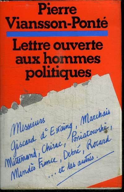 LETTRE OUVERTE AUX HOMMES POLITIQUES